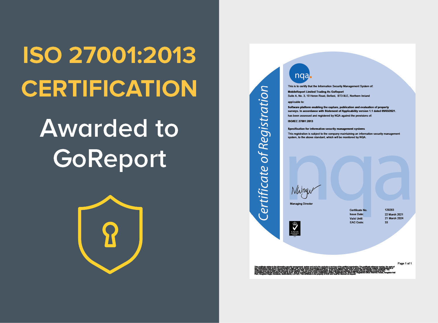 GoReport receives ISO/IEC 27001:2013 Certification for Information Security Management Systems (ISMS)