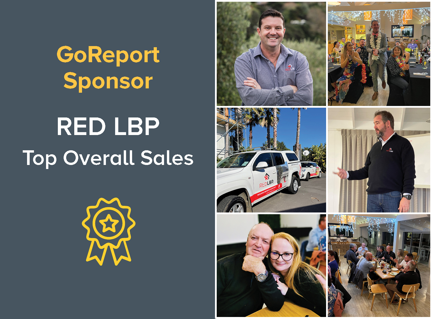 GoReport Sponsor Red LBP award at their annual conference in Waiheke Island, New Zealand